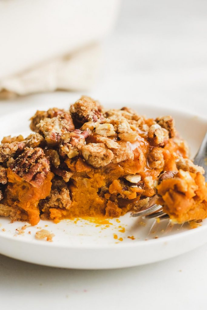 vegan kabocha sweet potato casserole side shot