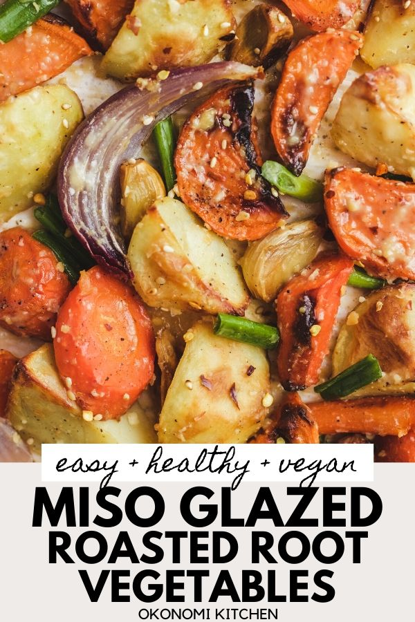 easy healthy vegan miso glazed roasted root vegetable pinterest image