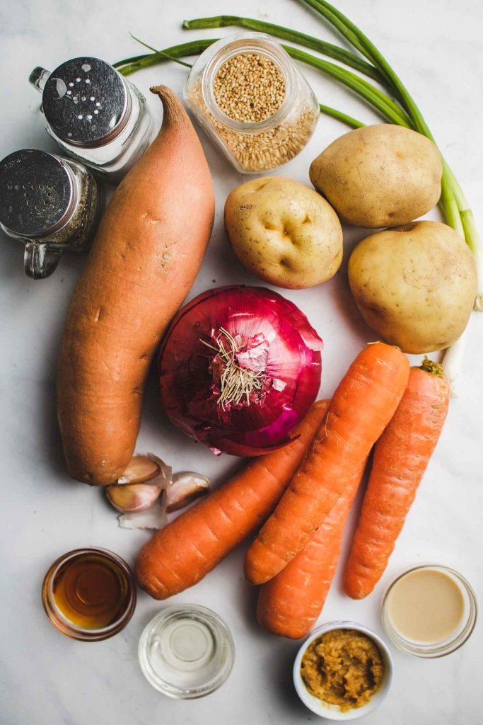 Miso Glazed Roasted Root Vegetables ingredients