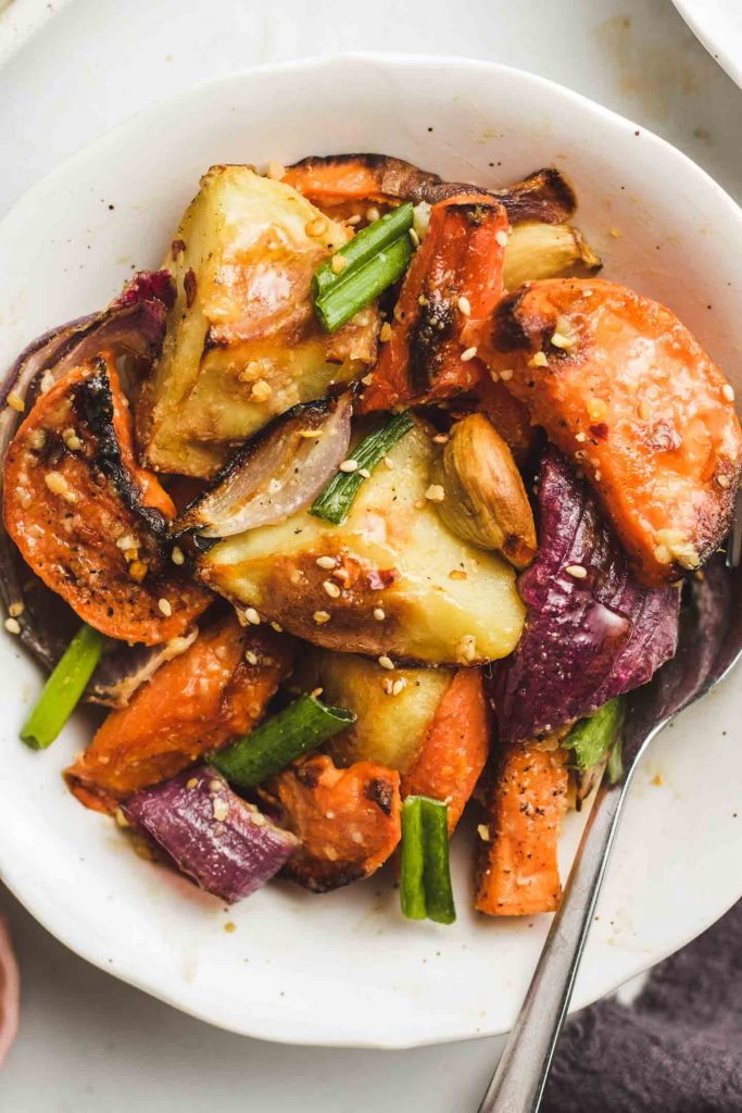 Miso Glazed Roasted Root Vegetables in a bowl close up