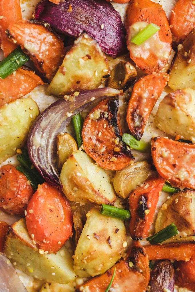 Miso Glazed Roasted Root Vegetables on a baking sheet