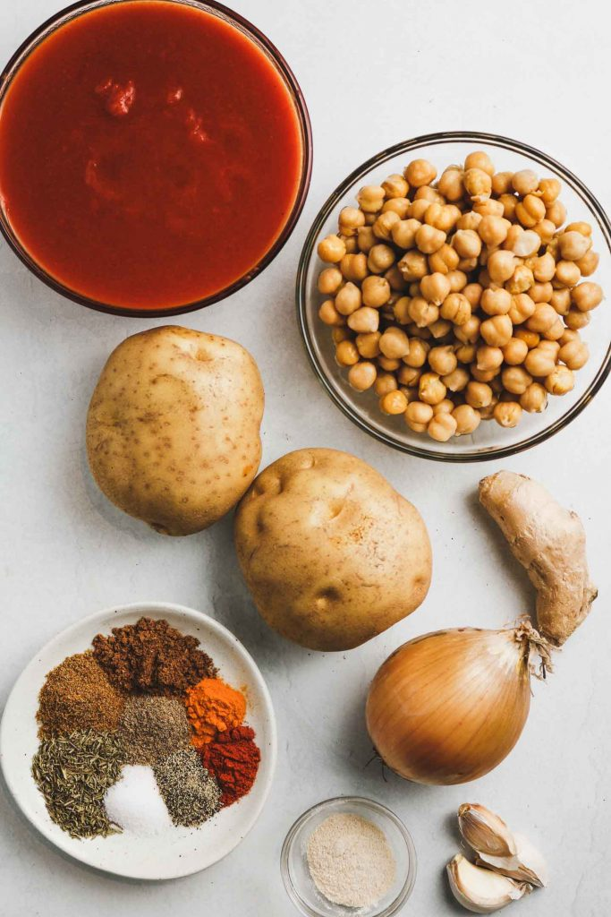 ingredients for vegan bombay potatoes