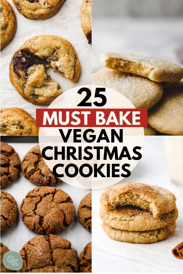 pinterest graphic for 25 vegan holiday cookies