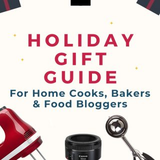 gift guide for cooks, bakers and food bloggers pinterest image