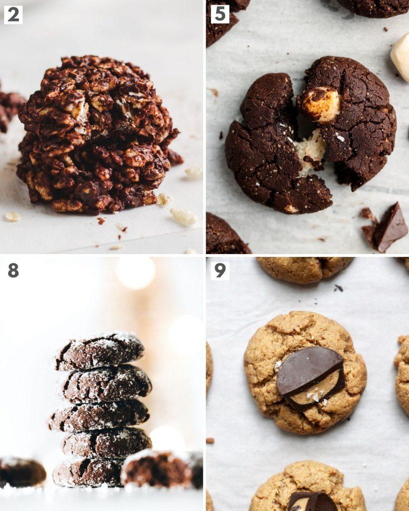 top 4 vegan chocolate holiday cookies showing chocolate crinkle cookies, peanut butter cup cookies, hot chocolate cookies and no bake chocolate cookies