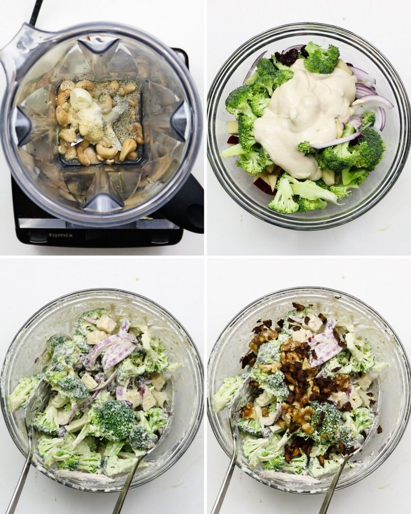 step by step shots of how to make vegan broccoli salad with creamy dressing