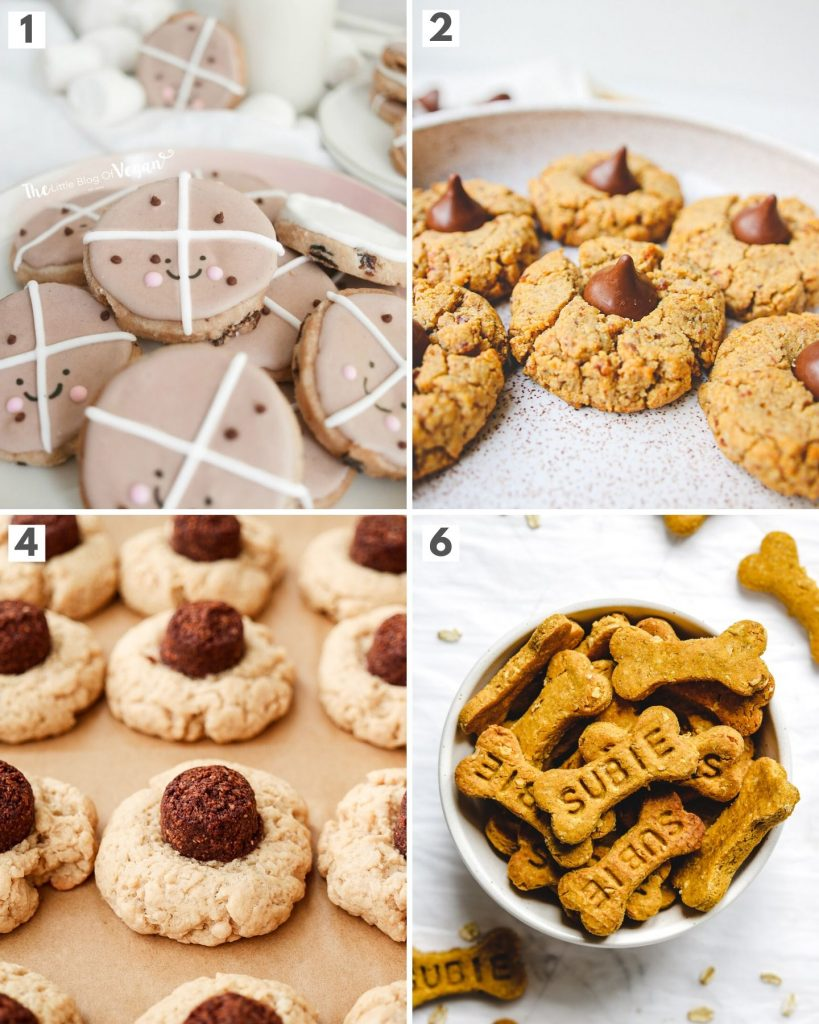 top 4 vegan grosted holiday cookies showing hot cross bun cookies, almond blossom cookies and coconut blossom cookies