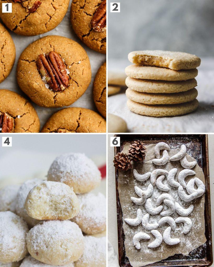 top 4 vegan shortbread holiday cookies showing pecan butter cookies, almond sugar cookies, snow ball cookies and crescent cookies