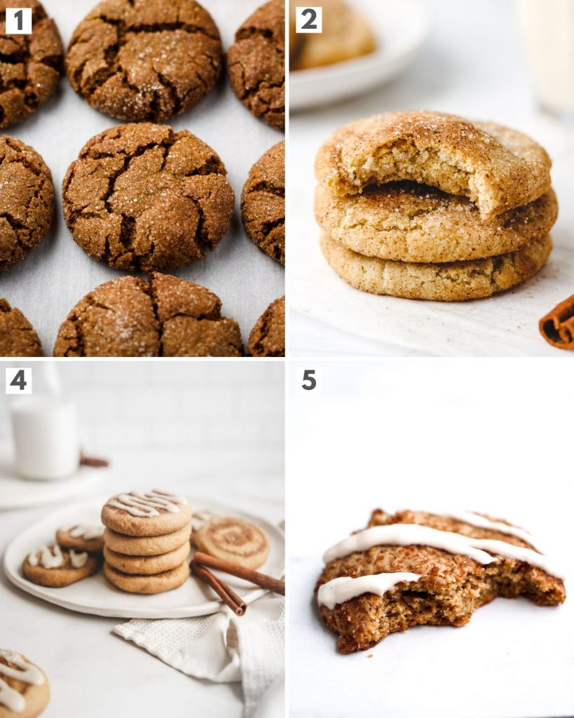 top 4 vegan spiced holiday cookies showing ginger molasses cookies, snickerdoodles, cinnamon roll cookies and chai spiced cookies