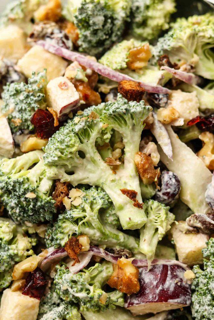 vegan dairy free broccoli salad close up shot