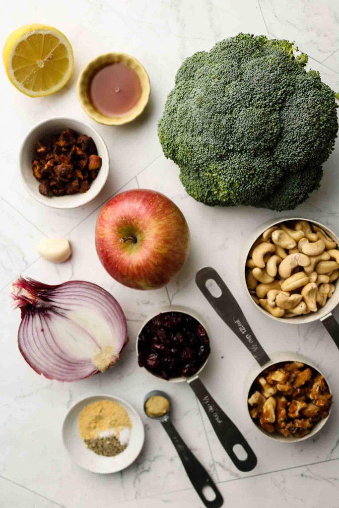 vegan broccoli salad ingredients laid out