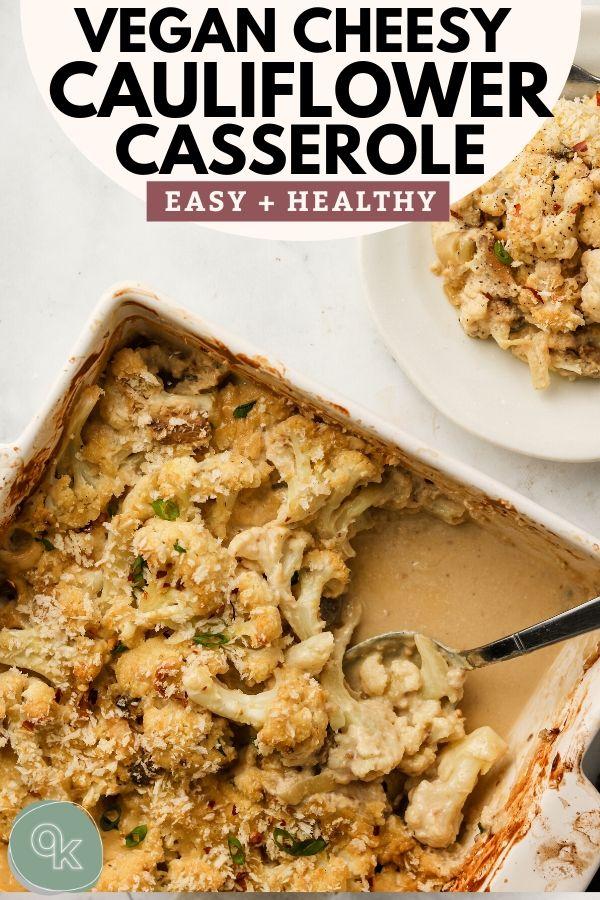 vegan cheesy cauliflower mushroom casserole with bread crumbs pinterest image