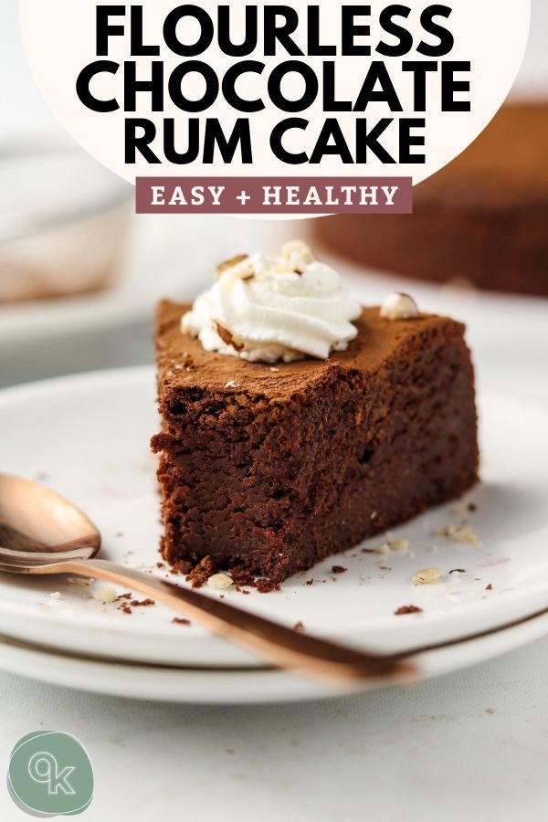 vegan flourless chocolate rum cake pinterest image