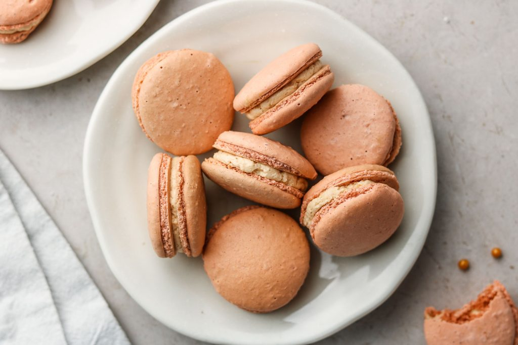 vegan macarons on a white plate landscape photo