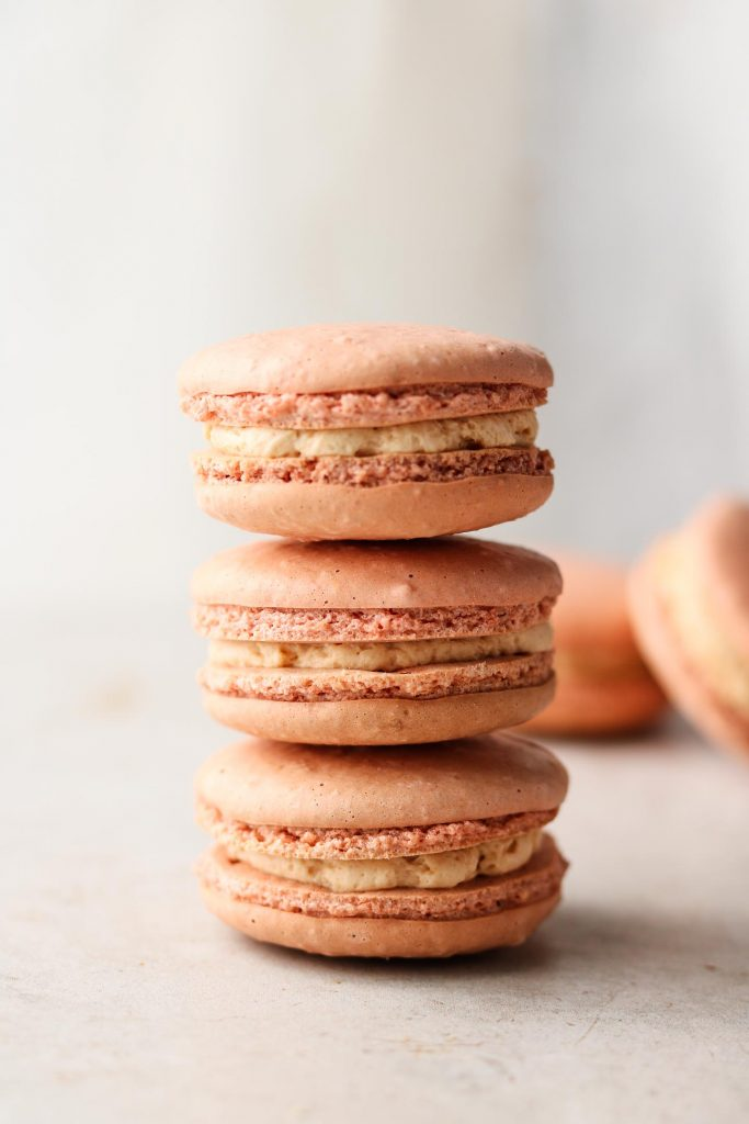 vegan macarons stacked on each other