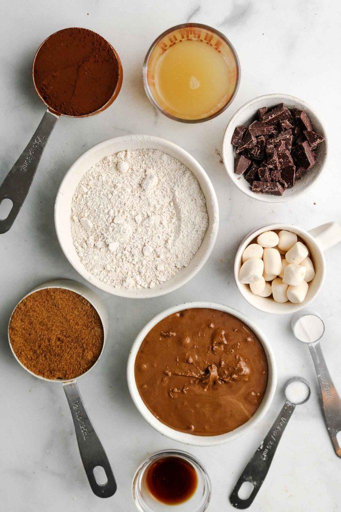 flourless vegan gluten free healthy double mint hot chocolate smores cookies ingredients