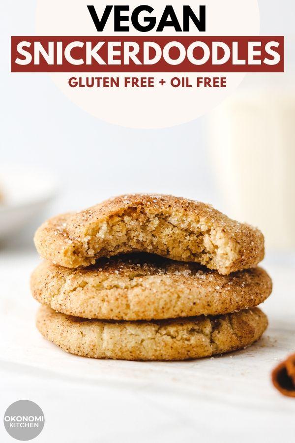 vegan oil free gluten free oil free snickerdoodles pinterest image