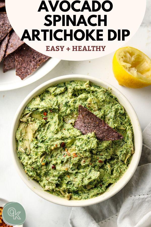 avocado spinach artichoke dip pinterest image