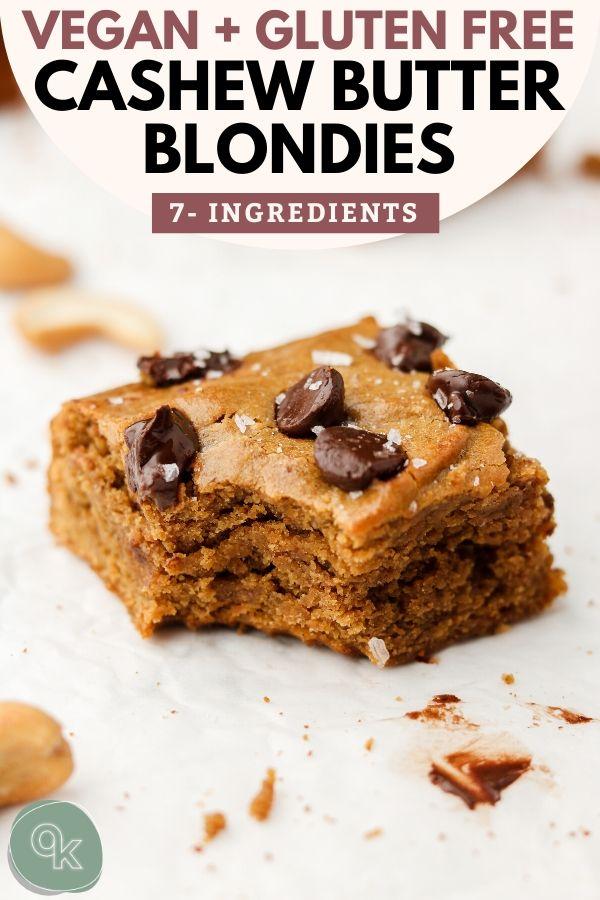 vegan cashew butter blondies with text pinterest graphic