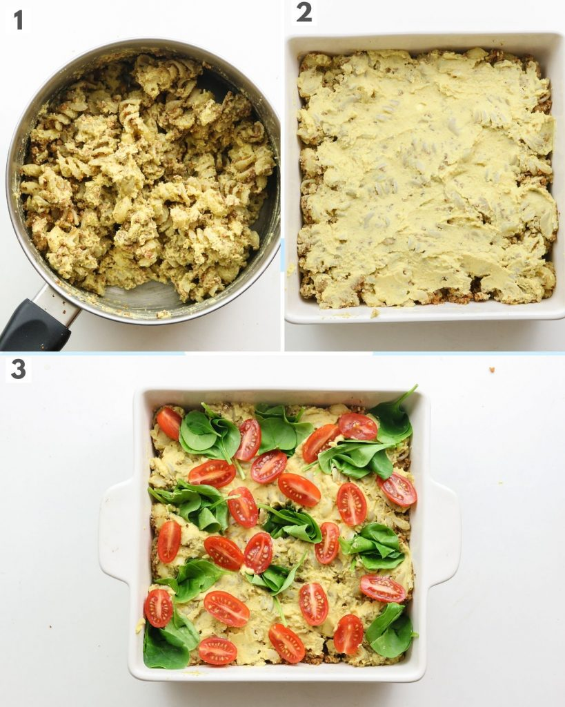 how to make vegan hummus pasta bake