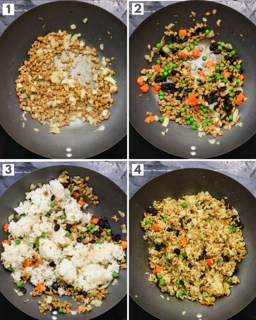 step by step how to make vegan curry fried rice