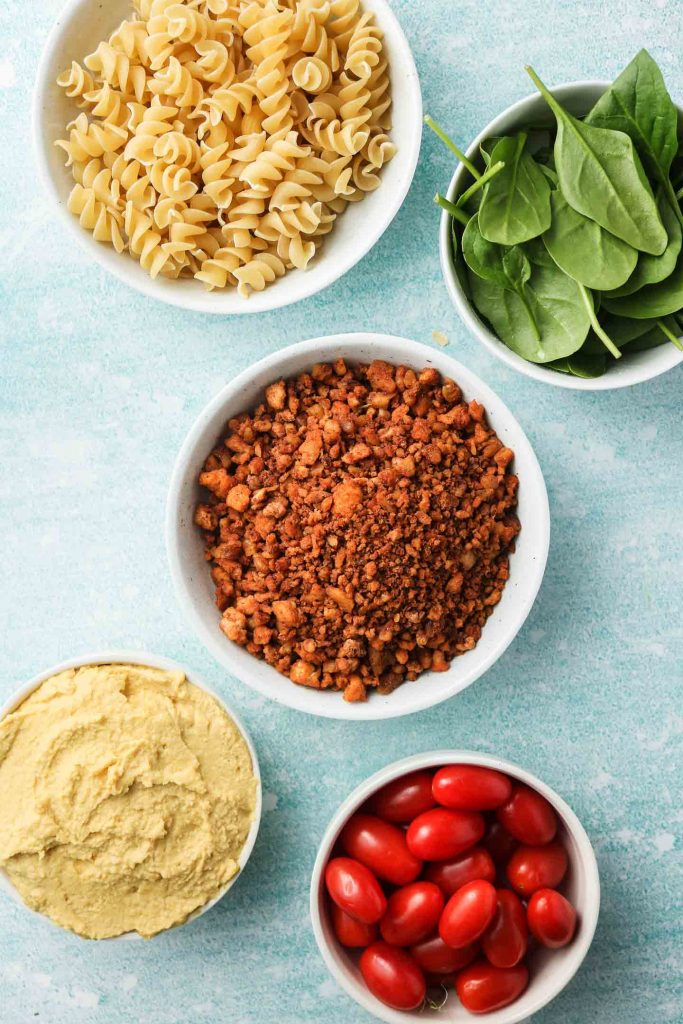 hummus pasta ingredients laid out