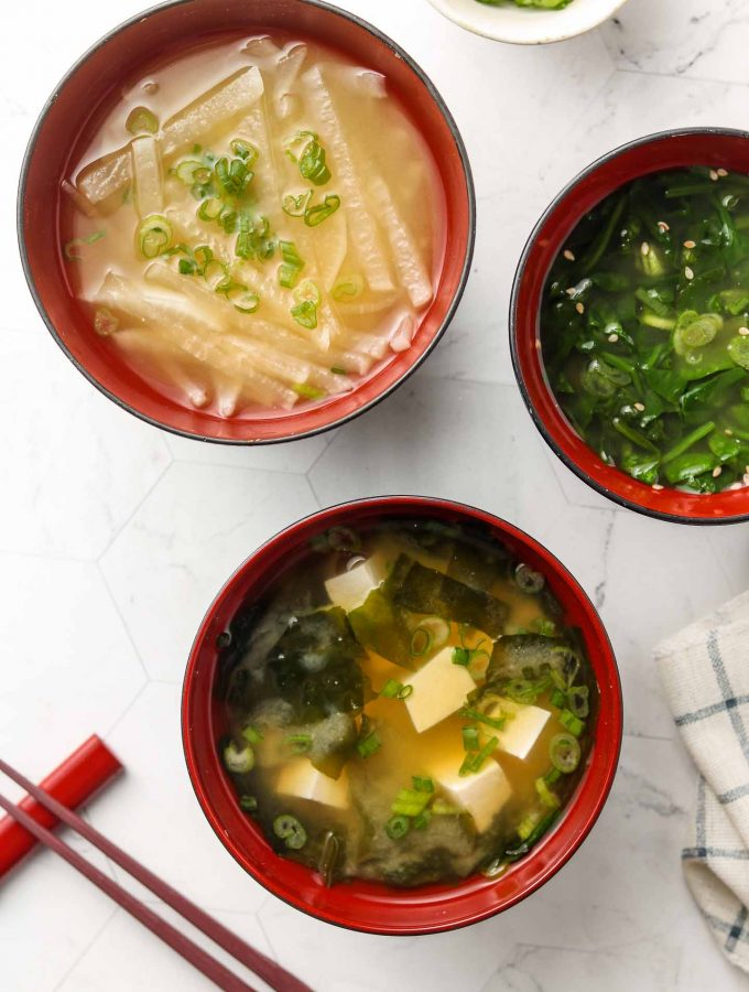 3 different vegan miso soups in bowl