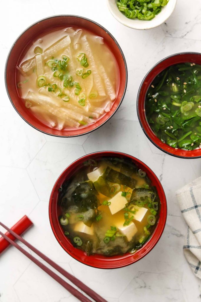 vegan miso soup in 3 bowls with 3 variations
