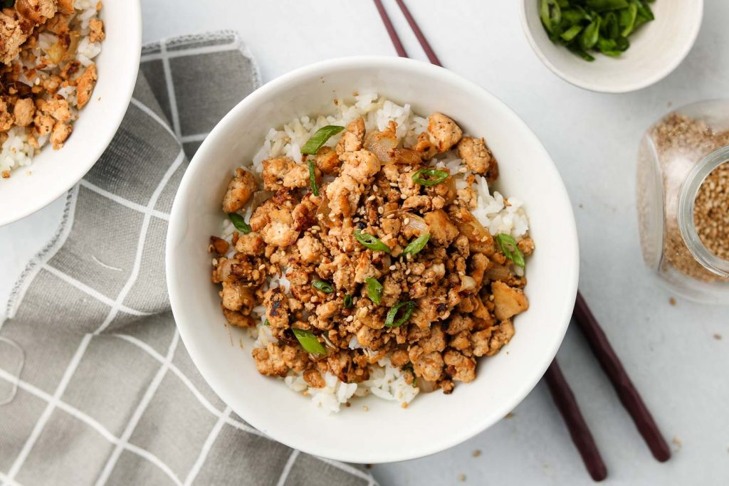 Asian Tofu 'Beef' Bowls in a white bowl landscape photo