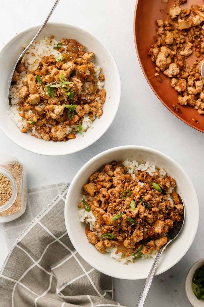 vegan beef crumbles over rice