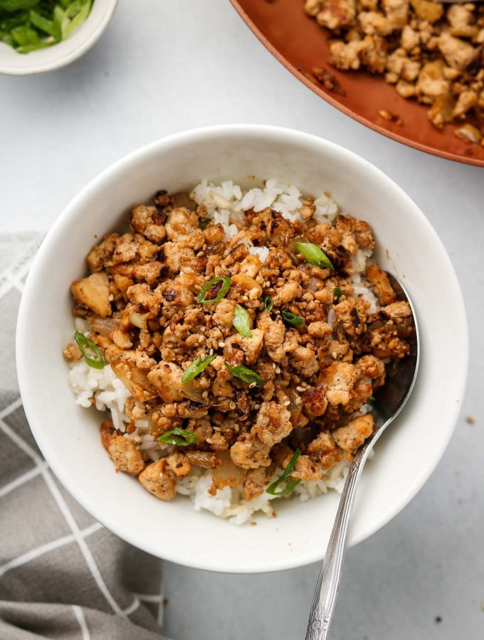asian ground tofu crumbles over rice