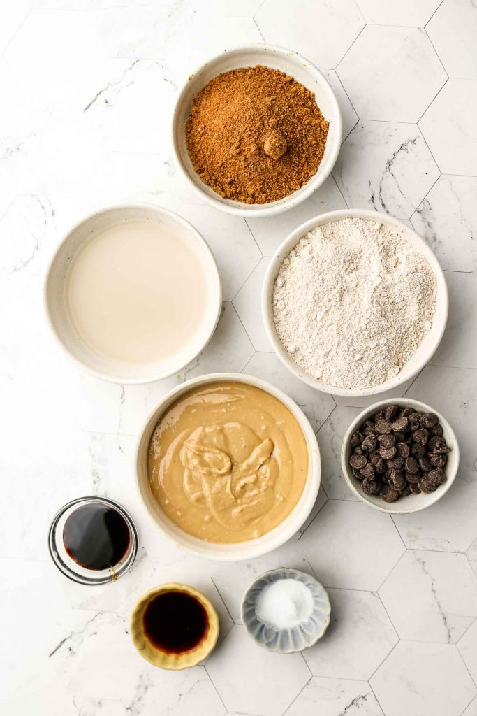 cashew butter blondie ingredients in a bowl
