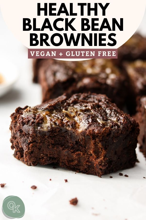 vegan gluten free black bean brownies that are healthy pinterest graphic