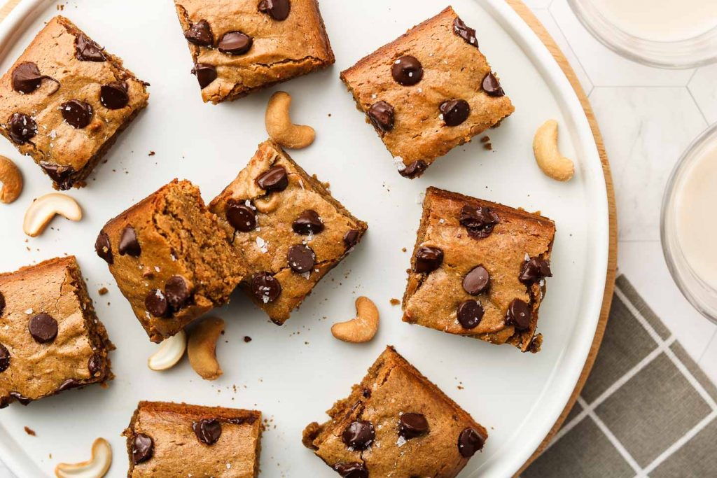 cashew butter blondies on a white plate