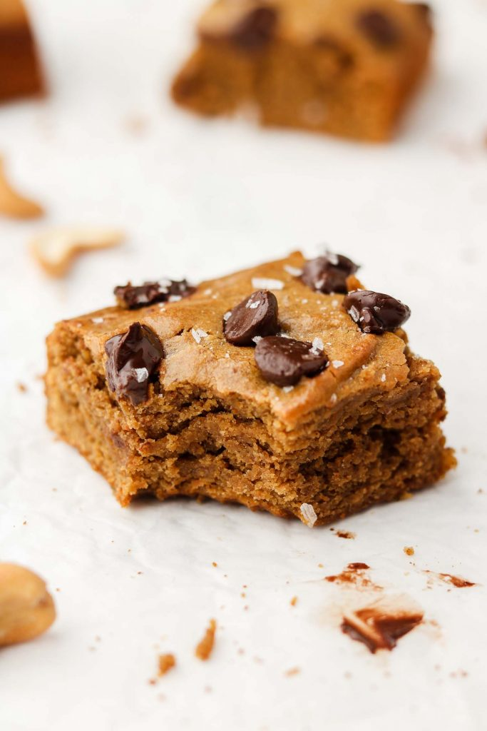 vegan cashew butter blondies bite shot