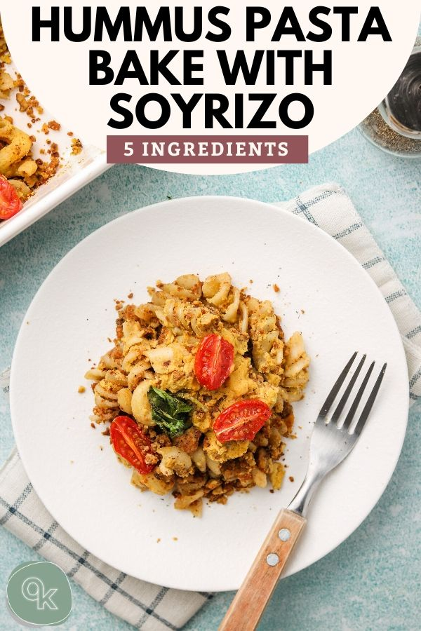 hummus pasta bake with soyrizo pinterest photo