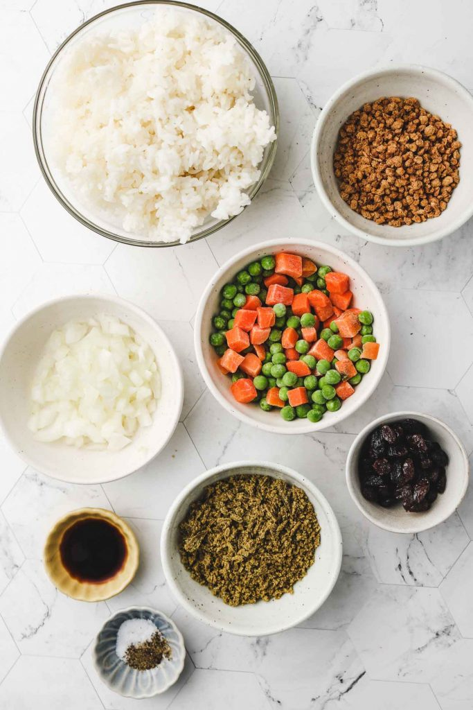 vegan japanese curry rice ingredients laid out