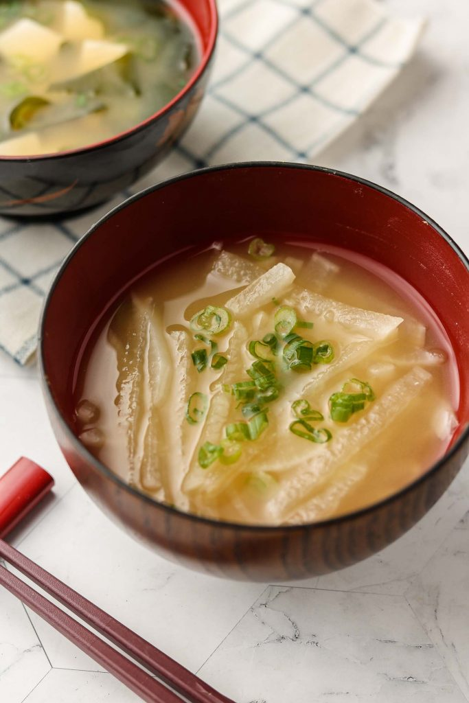 vegan miso soup with daikon in a bowl