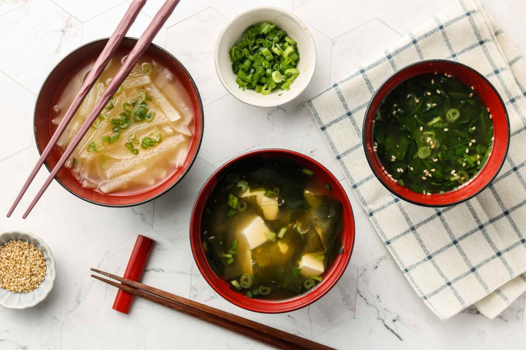 vegan miso soup in 3 bowls with 3 variations landscape photo