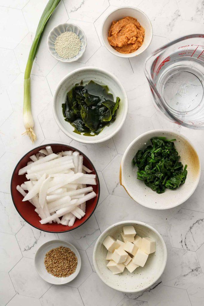 ingredients for vegan miso soup
