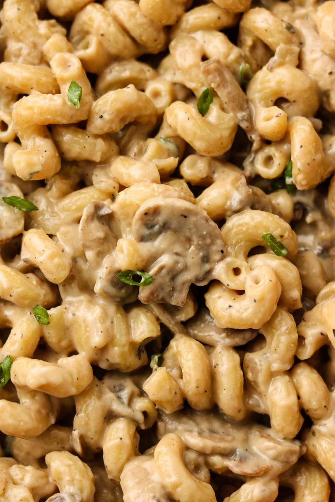 close up shot of vegan mushroom stroganoff with chives
