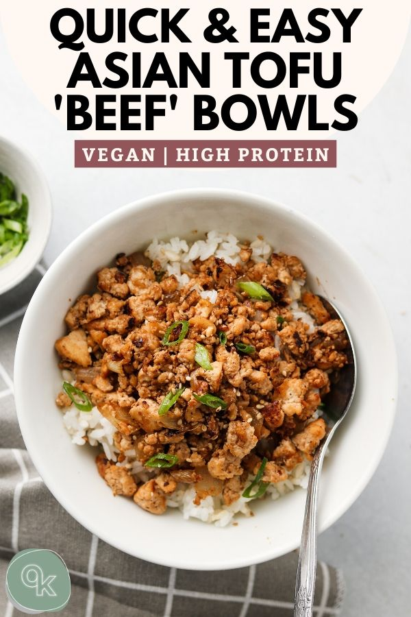 asian tofu beef bowls pinterest graphic