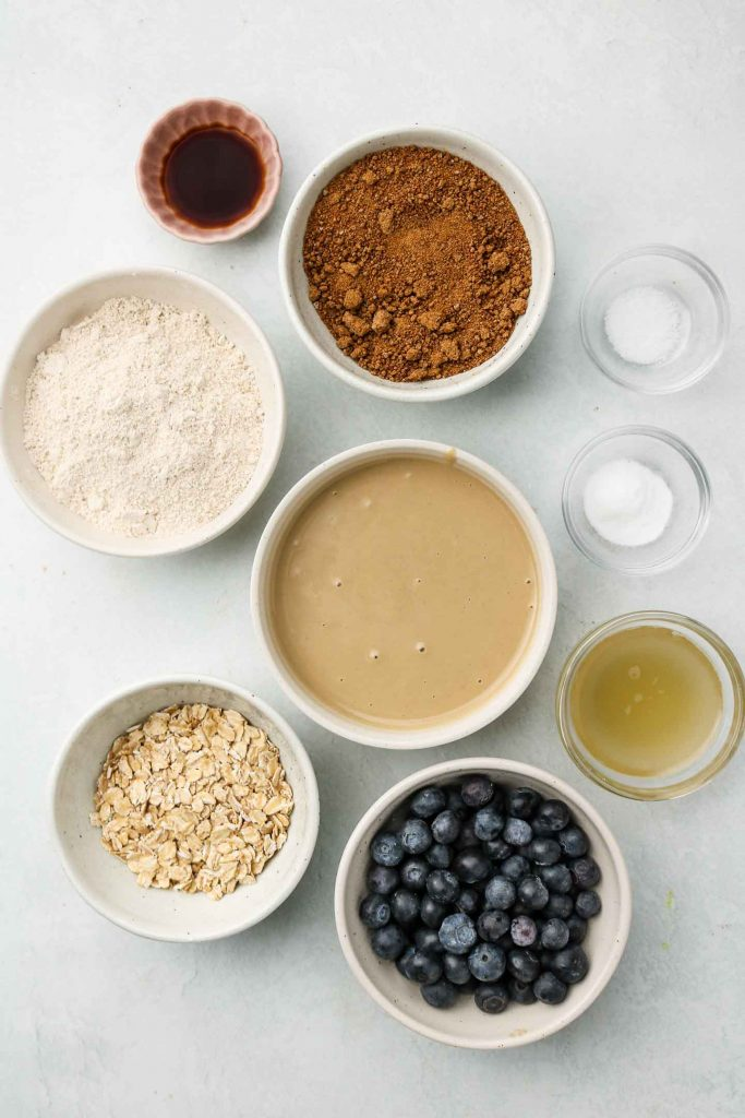 ingredients in gluten free vegan oatmeal cookies with blueberries