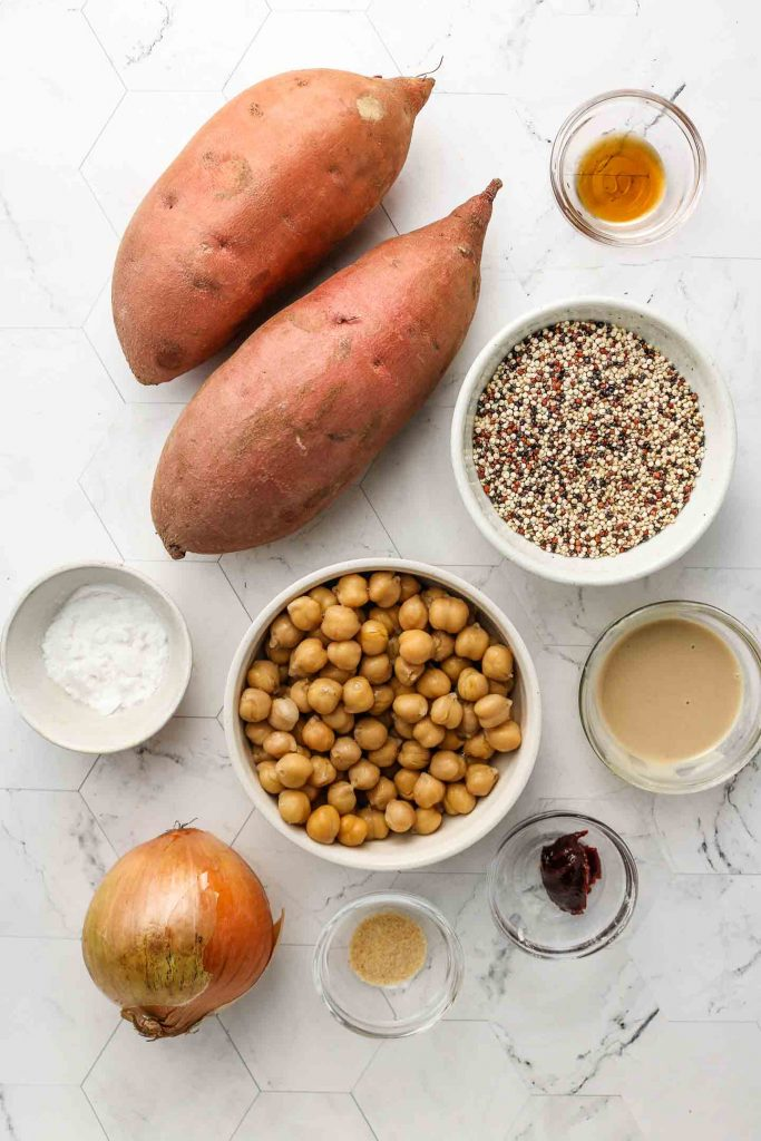 ingredients for sweet potato chickpea buddha bowl