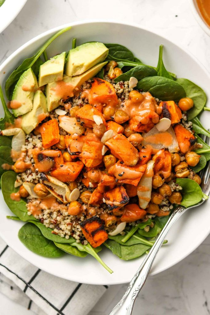 close up shot of sweet potato and chickpea salad bowl