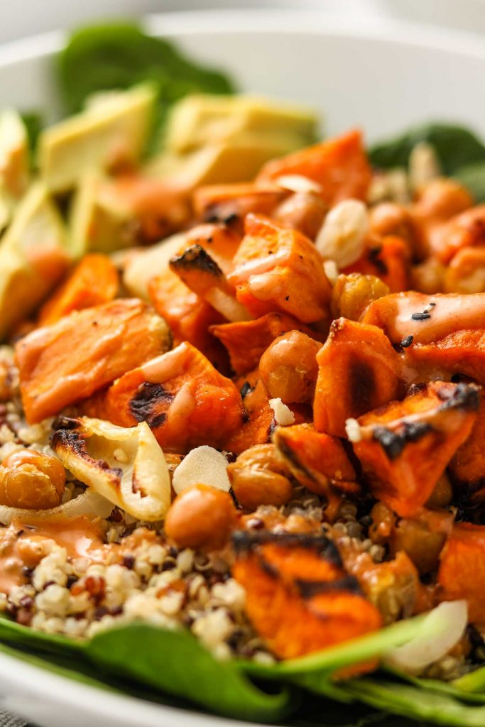 close up of sweet potato chickpea buddha bowl