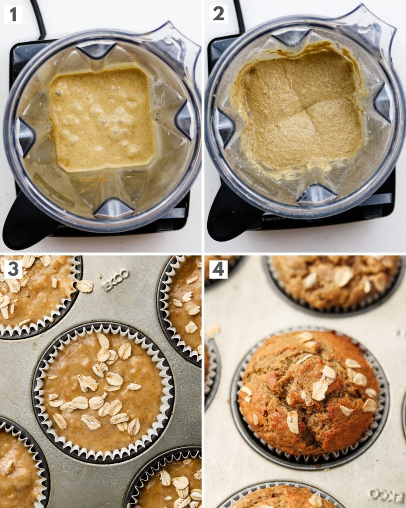 step by step how to make healthy banana oatmeal muffins