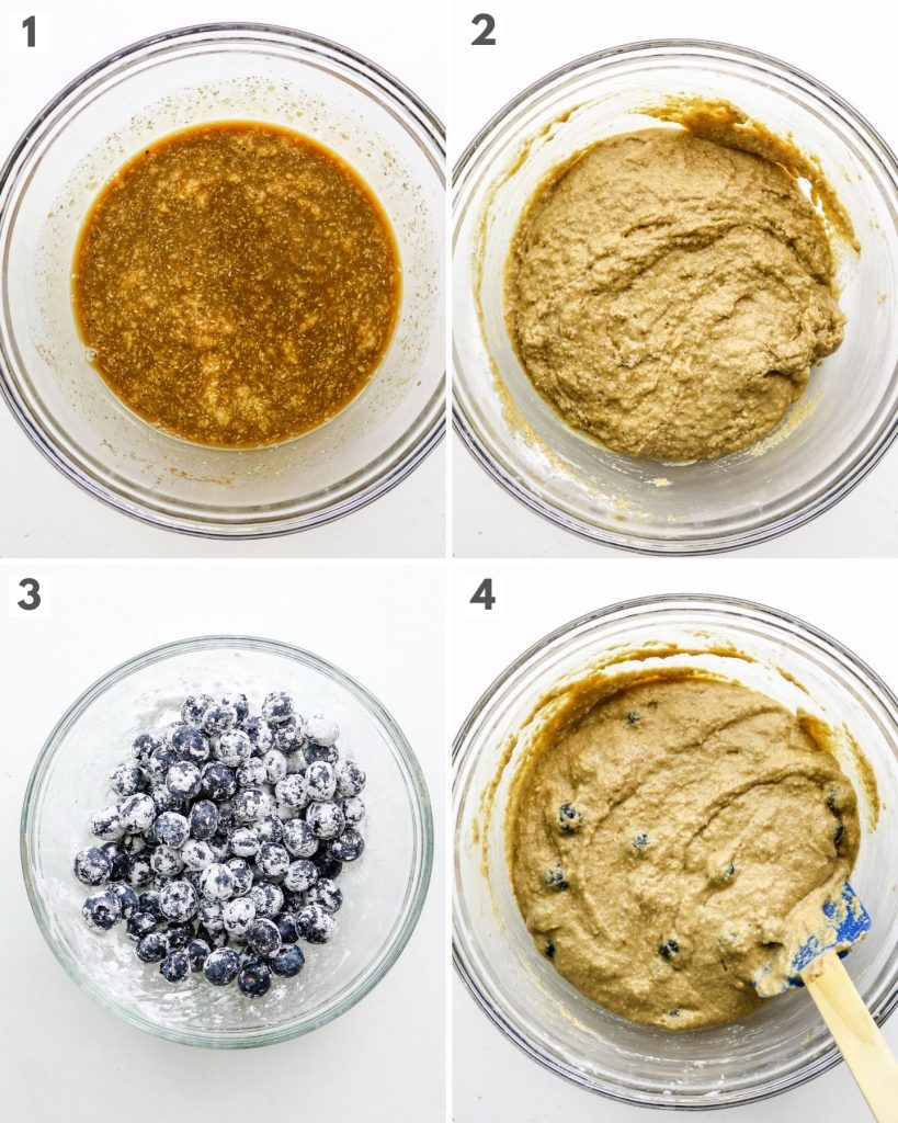 step by step how to make vegan blueberry muffins