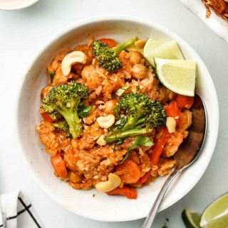 vegan thai red curry rice in a bowl