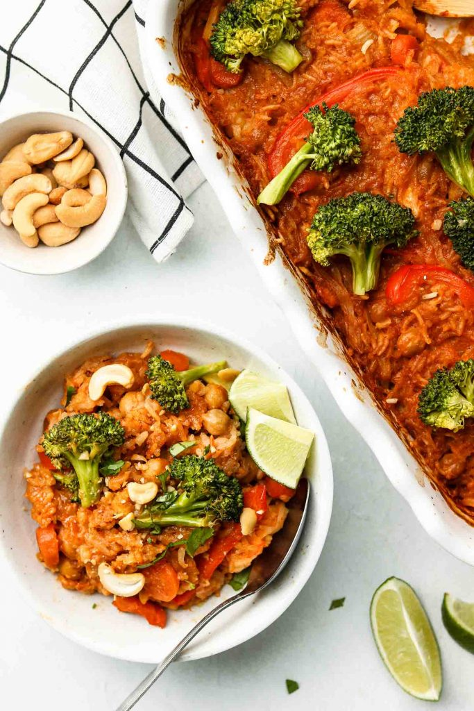 red curry in a bowl with casserole beside it